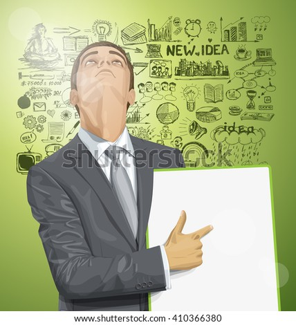 Vector businessman holding empty write board, looking up, looking for idea,  - stock vector