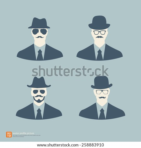 Vector Businessman icon avatar profile picture hipster vintage style - stock vector