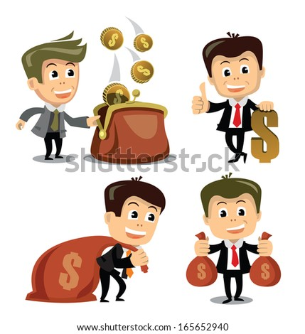 vector businessman in various poses - stock vector