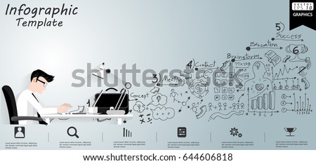 vector businessman think work on the table background white line pattern modern design - Design Idea