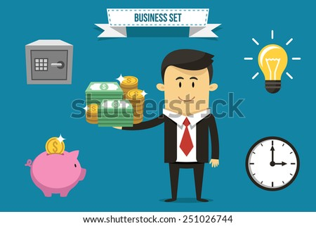Vector businessman with set of icons. Each object can be placed in his hand. - stock vector