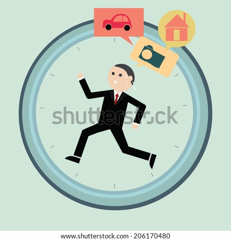 Vector businessman working hard for the best future - stock vector