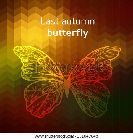 Vector butterflies background design. Colorful autumn background