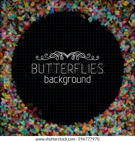 Vector butterflies background. Set of various butterflies on black background. There is place for your text in the center.