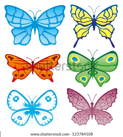 Vector. Butterflies collection.