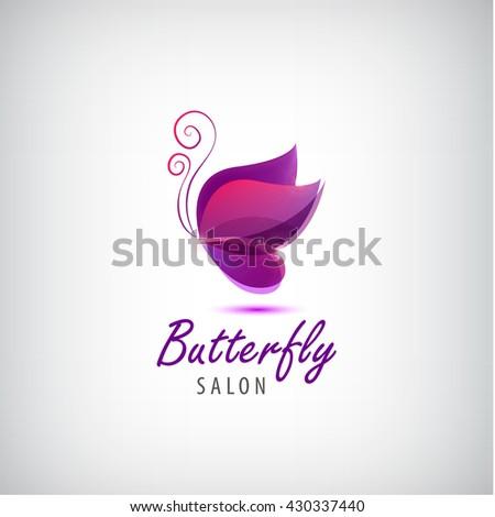 Vector butterfly logo. Spa salon logo, beauty salon icon, abstract identity - stock vector