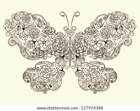 Vector butterfly made of flowers  fully editable eps 8 file