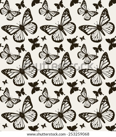 Vector, butterfly seamless pattern background. - stock vector