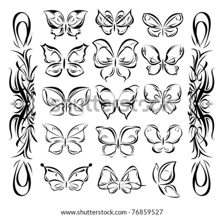 vector butterfly set designer collection tattoo - stock vector