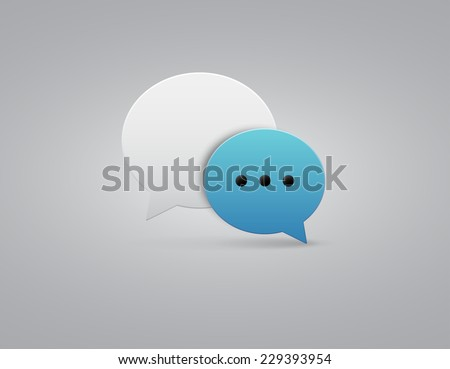 Vector button blue and white speech bubbles icon with gray shadow on white background - stock vector