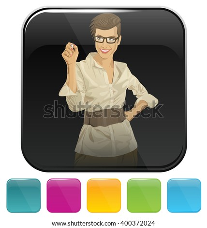 Vector button icon with business woman - stock vector