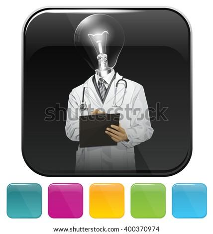 Vector button icon with doctor man - stock vector