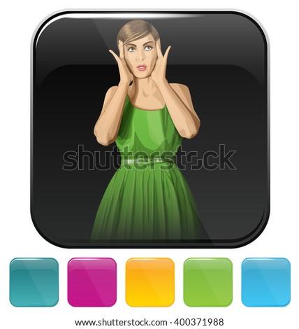 Vector button icon with shopping woman - stock vector