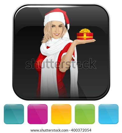 Vector button icon with Woman waiting for Christmas - stock vector
