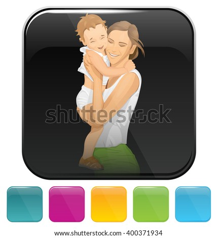 Vector button icon woman with child