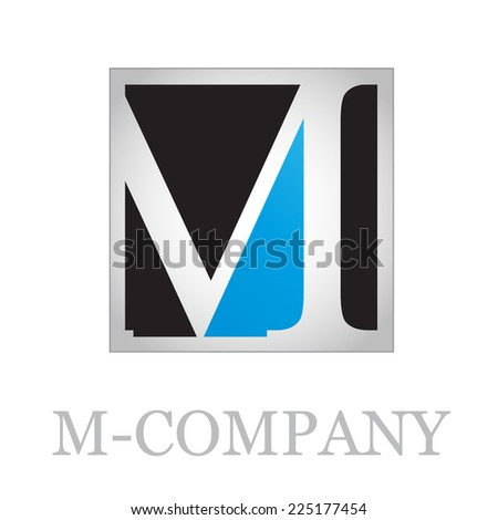 Vector button initial letter M on black background