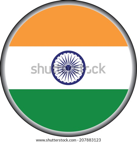 vector button of india flag badge