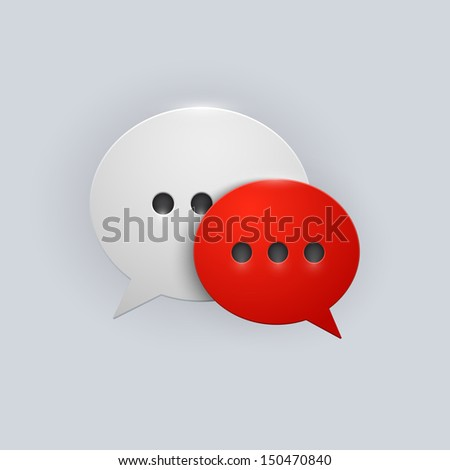Vector button red and white speech bubbles icon with gray shadow on white background - stock vector
