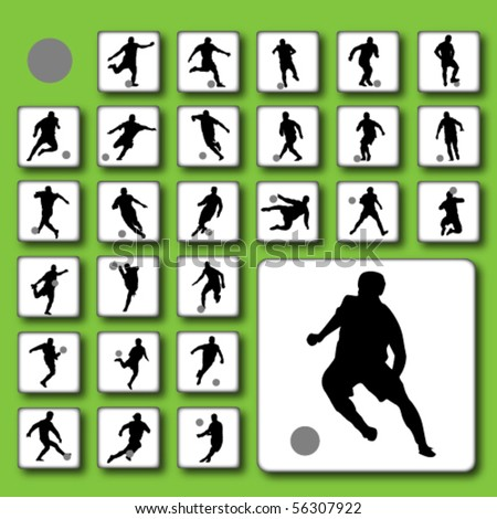 Vector button set of football (soccer) players silhouettes - stock vector