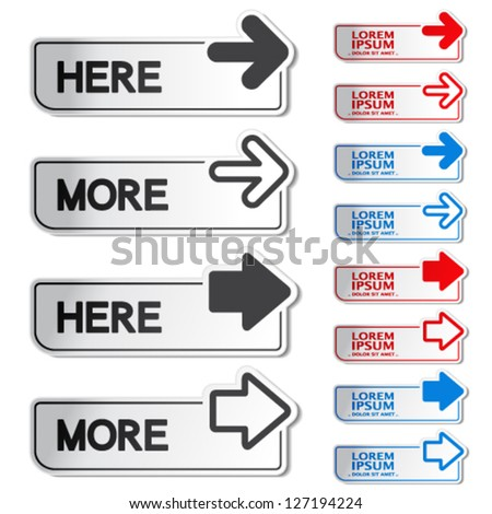 Vector button with arrow - here, more stickers - stock vector