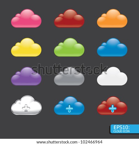 Vector  button with cloud color icon - stock vector