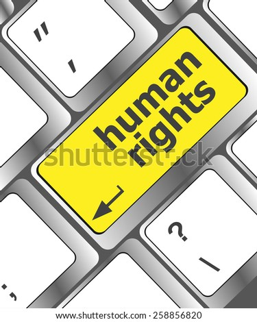 vector button with human rights word on it - stock vector