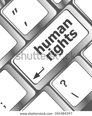 vector button with human rights word on it vector illustration