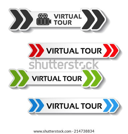 Vector buttons for virtual tour, black, red, green and blue labels - stickers with arrows - stock vector