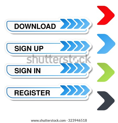 Vector buttons for website or app. Button - Sign Up, Sign In, Register, Download, Upload - stock vector