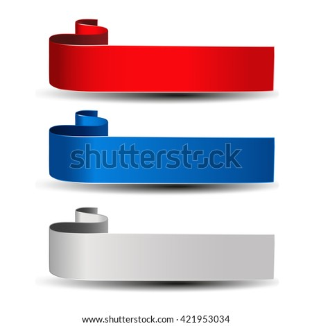 Vector buttons for website or app. Grey, red and blue label. Bent ribbon. Possible uses for text Buy now, Subscribe, Sign Up, Register, Download, Upload, Search, Next, Previous, Learn More etc.