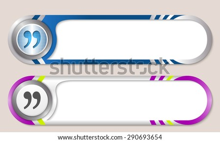Vector buttons for your text and quotation mark - stock vector
