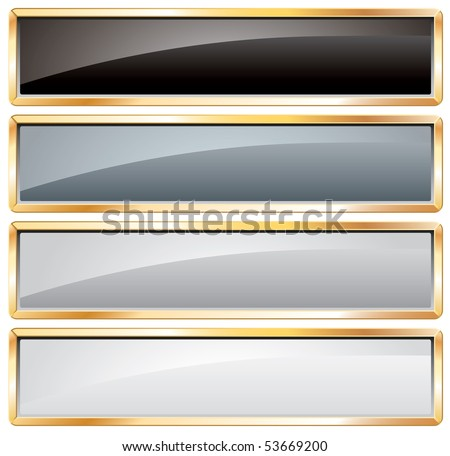 vector buttons in black and white with golden frame - stock vector
