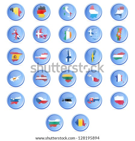 Vector buttons with flags. EPS10 - stock vector