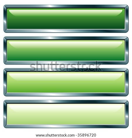 vector buttons with metallic frame, green collection - stock vector