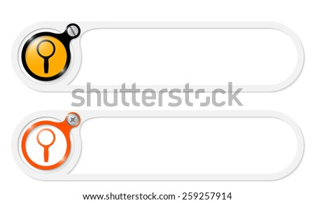 vector buttons with screw and magnifier - stock vector