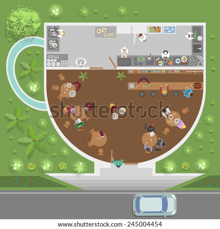 vector cafe cup (top view) - stock vector
