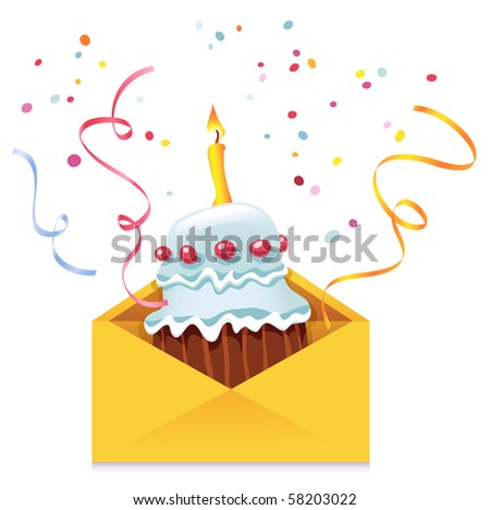 Vector Cake in Envelope - stock vector