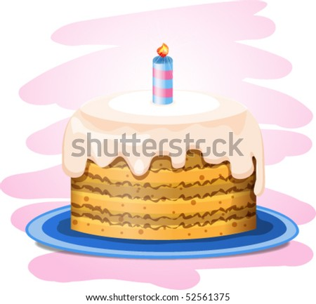 vector cake with candle
