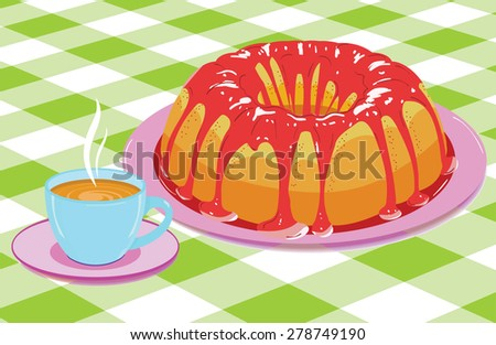 Vector. Cake with glaze and a cup of hot drink - stock vector