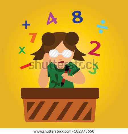 Vector - Calculate.Concept.What is answer. - stock vector