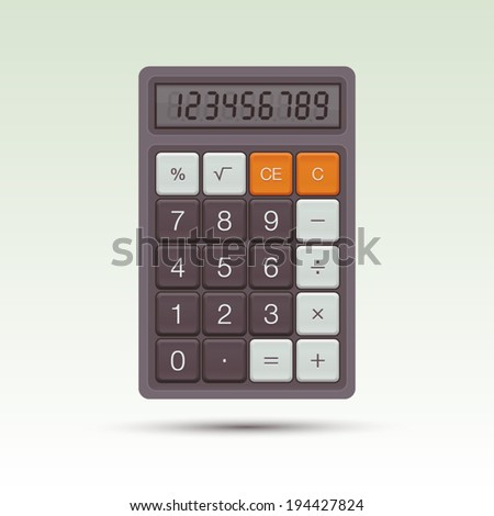 Vector calculator. Bright background, vector eps10 illustration - stock vector