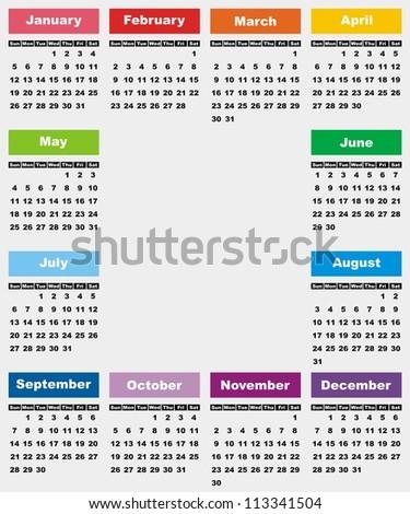 VECTOR - Calendar 2014 - stock vector