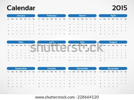 Vector calendar 2015 - stock vector