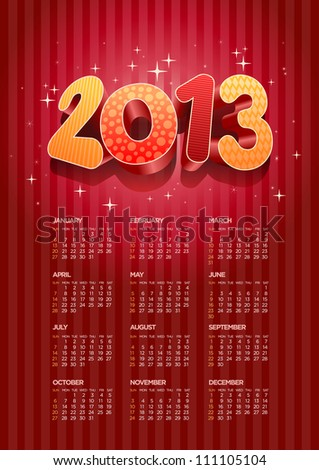 Vector 2013 calendar. All elements are layered separately in vector file. Easy editable. - stock vector