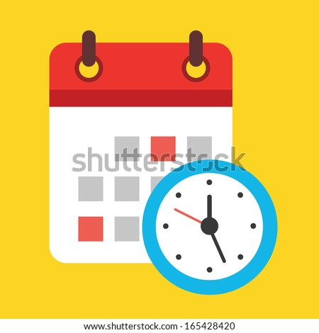 Vector Calendar and Clock Icon - stock vector