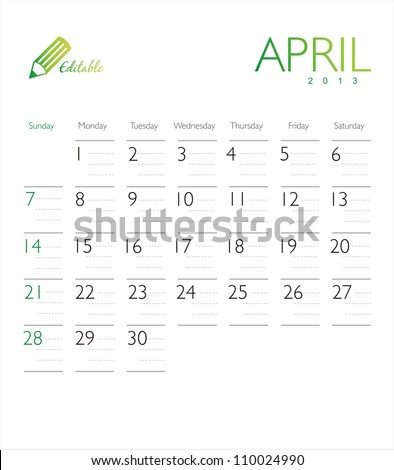 Vector calendar 2013 April - stock vector