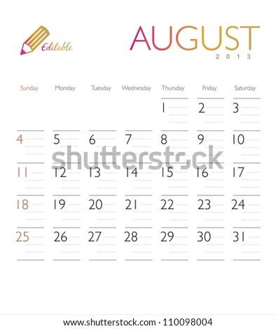 Vector calendar 2013 August - stock vector