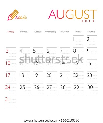 Vector calendar 2014 August - stock vector