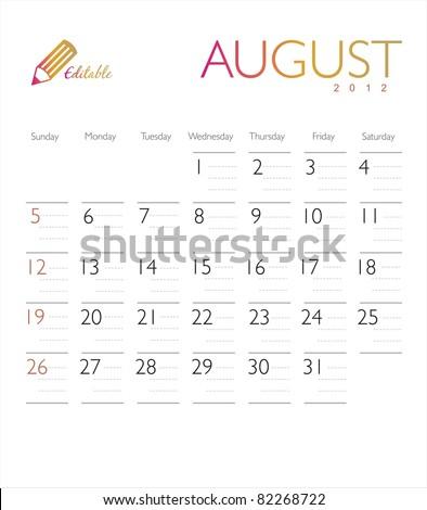 Vector calendar 2012 August - stock vector