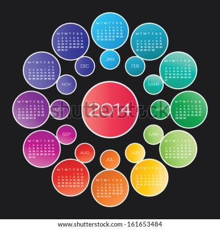 vector calendar 2014. circle calendar design template - stock vector